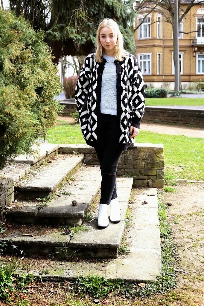 chelsea boots weiß Hahnentritt Mantel Vintage