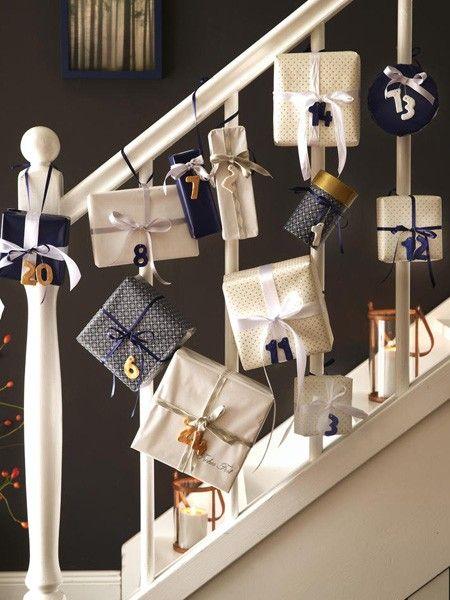 Treppengeländer adventskalender DIY