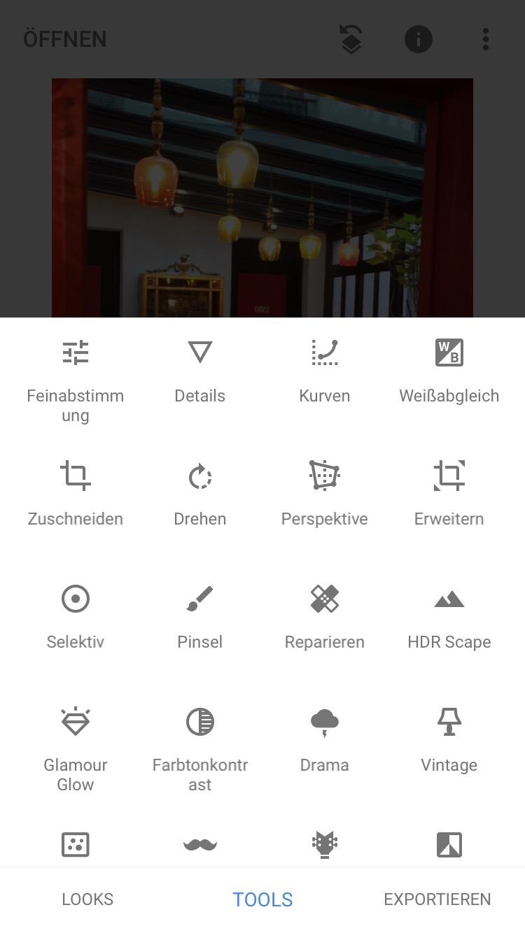 Bildbeareitungs-App Snapseed
