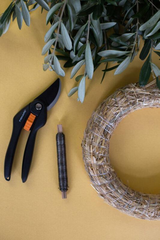 Olivenkranz binden DIY Utensilien